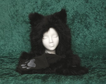 Black Faux Fur Scoodie Hat Scarf