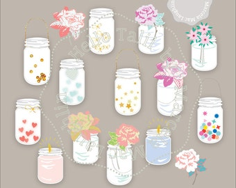 Mason Jars Clipart- MASON JARS BULK Clip Art Mason Jar Decor centerpieces with candles flowers hearts stars confetti Weddings Baby showers