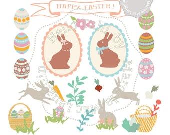 Happy Easter Clipart- Digital Easter Clip Art graphics EASTER BUNNIES Clip Art Egg hunt chocolate eggs baskets carrots Vintage banner pastel