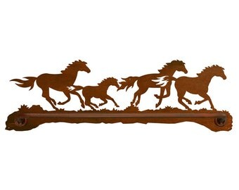 """Horse Scenic Rustic Towel Bar 18"""" Hand Towel and 29"""" bath Towel options avalable"""
