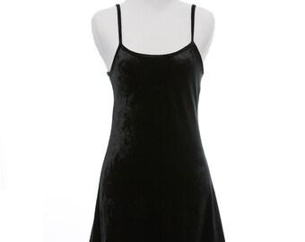 1990s Little Black Velvet Dress Size Medium