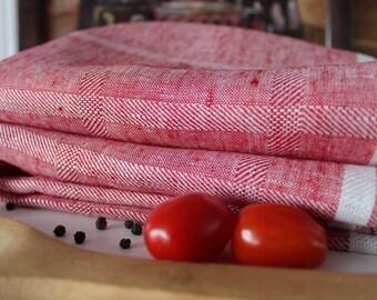 Linen Tea towel set of 2, 100pct Linen Dish Towel Pure linen , Tea Towel Flax Towels Gift idea, red linen