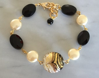 RESERVED for MH *** Murano Glass Bracelet, Swarovski Pearl Crystal Bracelet, Swarovski Jet Crystal Bracelet