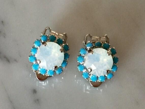 Swarovski White Opal & Turquoise Halo Clip On Earrings, Silver