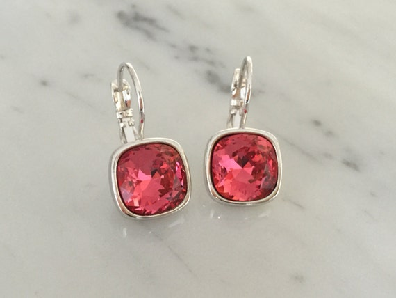 Indian Pink Swarovski Crystal Earrings, Silver