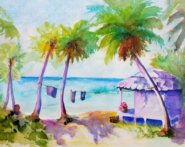 Beach Hut Tropical Island Watercolor Landscape Original