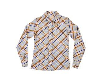 60s / 70s Plaid Oxford, 1960s Women's Long Sleeve Button Up Top, 1970s Plaid Shirt, Collared, Medium, Retro, Brown Blue, Retro Plaid Blouse