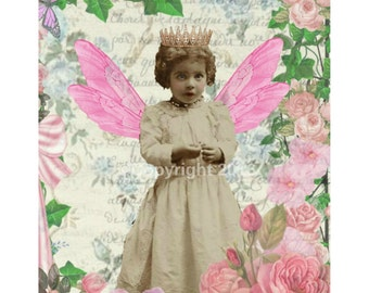 Fairy Queen  Ephemera Vintage French Printable Digital  Collage Scrapbook Page Pink Vintage Flowers Instant Download Card Supply