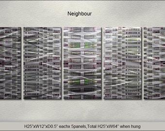 "Original Special Metal Wall Art Modern Abstract Indoor Outdoor Decor Direct From Artist ""Neighbour"""