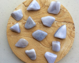 Blue Lace Agate Tumble Polished Rock, Natural Gemstone Specimen, reiki healing stone, chakra crystal, meditation, New Age mineral