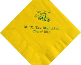 Personalized Graduation Beverage Napkins with Grad Cap Logo for Class of 2018