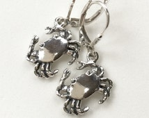 Chesapeake Bay Sterling Silver Crab Charm Earrings; Maryland Blue Crab Earrings