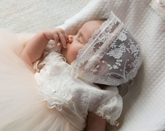 baptism baby girl bonnet with lace, laced bonnet
