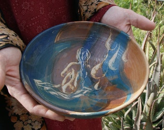 Ceramic and pottery, serving bowl, naked woman, model, drawing with shading, hand carved, female nudity, Portrait, naked girl, kitchenware