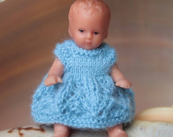 Miniature doll dress, Blue mini knit clothes for 3 inch doll, Handmade doll outfit, Blue dress, Home decoration, Dollhouse miniature outfit