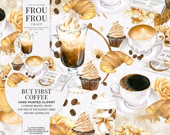 Coffee Clipart Watercolor Coffee Clip Art Cappuccino Lovers Latte Coffee Shop Bakery Desserts Food Croissant Cupcake Illustration DIY Pack