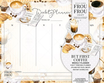 Coffee Planner Weekly Planner Printable Agenda Watercolor Organizer Coffee Lovers Gift Scheduler Monthly Planner Pad Instant Download