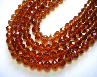 6mm X 4mm Faceted Brown Topaz Crystal Rondelles 100 Beads 6X4mm Dark Amber beads Colorado Topaz beads Faceted Brown Topaz Jewelry Rondelles