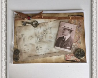 Gentleman/Chap/Vintage Theme Handcrafted Greetings Card (Blank)  UNIQUE DESIGN