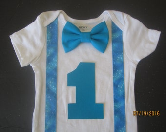 Blue 1st birthday outfit, blue first birthday theme, Boy teal suspender shirt , 1st birthday shirt, boy birthday outfit, blue birthday shirt