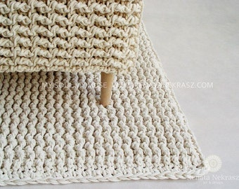 Ecri, cotton cord, rectangular rug, crochet rug, crochet carpet, knitted carpet, knitted rug, home & decor, furniture, floor decoration,