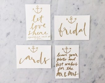 Custom 6 x 4 inch Hand Drawn Metallic Gold Lettering Sign / Nautical / Cards Signs Guest Book / Calligraphy / Party Wedding Birthday Hens/