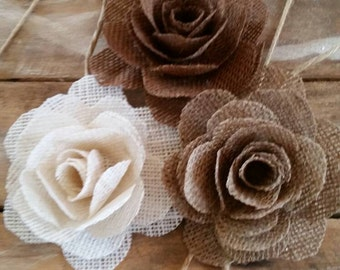 Burlap Rose, Country/Shabby chic Wedding, Burlap Flower, Wedding Cake Flower