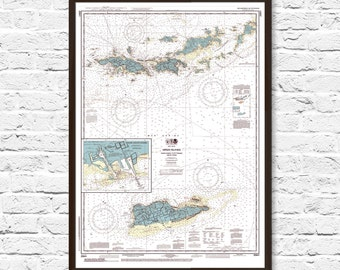 US Virgin Islands Map, Nautical Chart Map, Virgin Islands, Beach Cottage Decor, US Virgin Islands, Island Print, USVI, Map Art