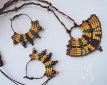 Boho jewellery set Tribal jewellery set Macrame jewellery set Summer jewellery set Jewellery set for her Colorful jewellery set Gypsy set