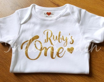 Gold Silver Girls Baby Personalised Name One 1st Birthday Vest Baby Grow Babygrow Cake Smash Photo Prop