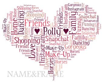 Personalised Word Art Print - Heart