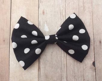 Black & White Polka Dot Hair Bow Clip or Headband / Black Bow / White Polka Dot Bow / Black and White Hair Bow /Black Polka Dot Bow Headband