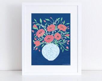 Midnight Flowers Art Print   Floral Illustration   Still Life   Vase of Flowers   Floral Wall Art   Boho Art