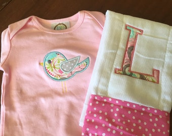 Gown and burp cloth set