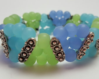 Original 3 strand, blue, green & periwinkle, glass bead bracelet