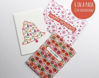 Christmas card pack  - Patterned - Bell, Let it snow, Happy Holidays - 6 in a pack (2 of each design)