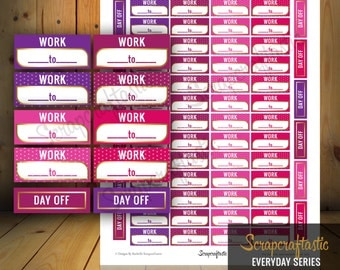 Berry Cherry Work Time and Day Off Printable Planner Stickers fit Erin Condren Vertical Planner, Happy Planner