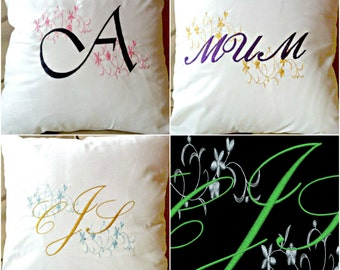 Initial/ Monogram/Word with pattern - Embroidered Cushion Cover