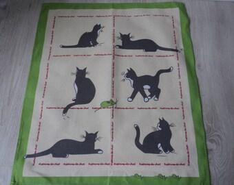 French vintage cotton printed cat tea towel / torchon  (03675 - 04380)