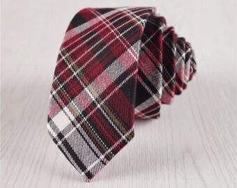 wine red plaid necktie.mens necktie.skinny necktie.ties for businessmen.prom ties.mens neckwear.mens accessories.fashion accessories+nt285