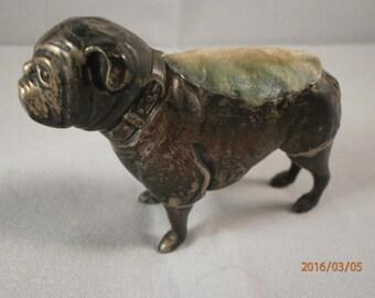 antique sterling silver pin cushion bulldog ,  britton gould & co circa , victorian