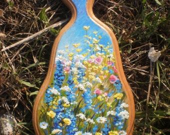 Decorative board Original painting on wood Flowers on wood Kitchen board OOAK Wooden board Flower paintings Painting on a board Wildflowers