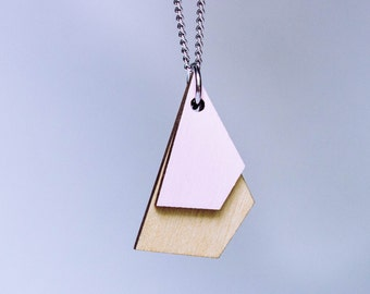 necklace made of birch wood geometric design