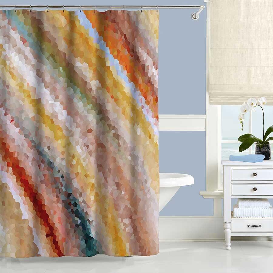 Art Shower Curtain Yellow Shower Curtain Beige Orange Red