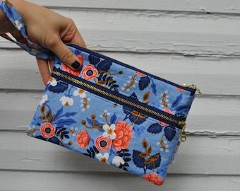 Light Blue Rifle Paper Wristlet Wallet