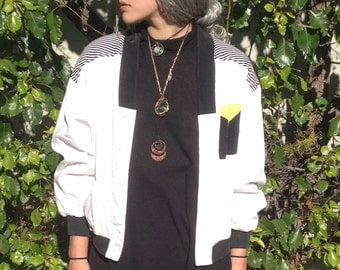 Vintage 80s 90s Black and White Stripped Button up Jacket Blazer