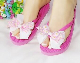 Girls Summer Sandals Fancy Flip Flops Pink Ribbon Dressy Flat Shoes Kids Size Medium Pool Beach Shoes Daisy Flower Decorated