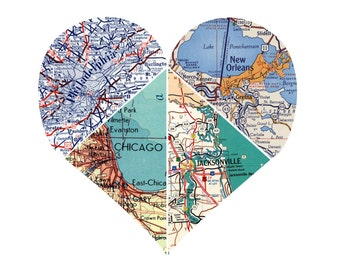 Heart Map | 4 piece Heart | Personalized Map Art  | Grandparents Gift | Heart Map Decor | Wedding Gift | State to State | Long Distance Gift