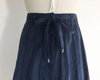 Vintage Skirt Navy Blue Skirt Pleated Skirt Button Front Skirt Blue Moleskin Skirt 1960s Rockabilly Skirt Swing Skirt
