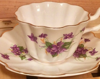 Dainty Royal Kent Teacup and Saucer Made in Staffordshire England